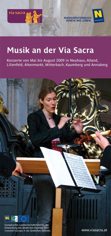Des folders &;musik an der via sacra&; und produktion eines plakats